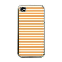 Horizontal Stripes Orange Apple Iphone 4 Case (clear)