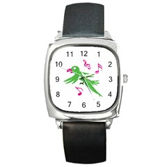 Parrot Bird Green Square Metal Watch by AnjaniArt