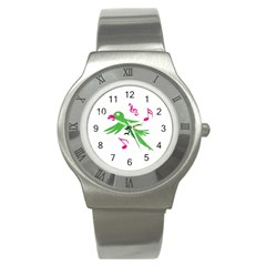 Parrot Bird Green Stainless Steel Watch