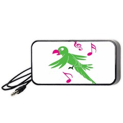 Parrot Bird Green Portable Speaker (black) by AnjaniArt