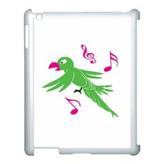 Parrot Bird Green Apple Ipad 3/4 Case (white) by AnjaniArt