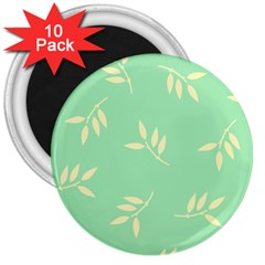 Pastel Leaves 3  Magnets (10 Pack)  by AnjaniArt
