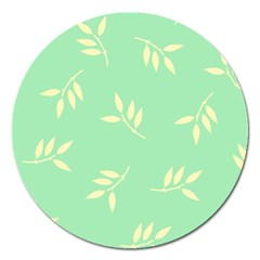 Pastel Leaves Magnet 5  (round) by AnjaniArt