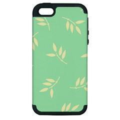 Pastel Leaves Apple Iphone 5 Hardshell Case (pc+silicone) by AnjaniArt