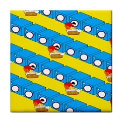 Machine Washing Clothes Blue Yellow Dirty Tile Coasters by AnjaniArt