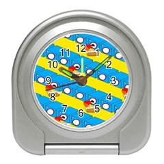 Machine Washing Clothes Blue Yellow Dirty Travel Alarm Clocks by AnjaniArt