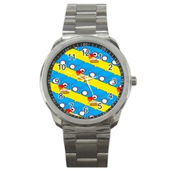 Machine Washing Clothes Blue Yellow Dirty Sport Metal Watch by AnjaniArt