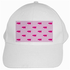 Pig Pink Animals White Cap by AnjaniArt