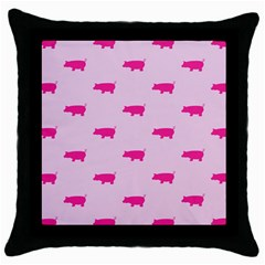 Pig Pink Animals Throw Pillow Case (black) by AnjaniArt