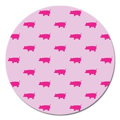 Pig Pink Animals Magnet 5  (round) by AnjaniArt
