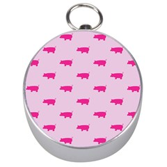 Pig Pink Animals Silver Compasses by AnjaniArt