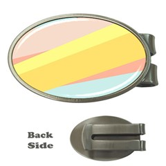 Pink Green Yellow Line Flag Money Clips (oval)