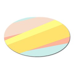 Pink Green Yellow Line Flag Oval Magnet by AnjaniArt