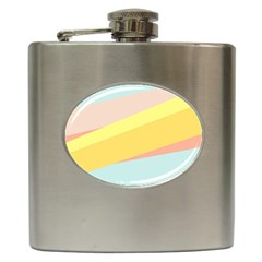 Pink Green Yellow Line Flag Hip Flask (6 Oz) by AnjaniArt