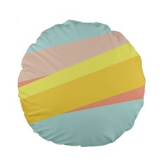 Pink Green Yellow Line Flag Standard 15  Premium Round Cushions