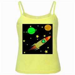 Planet Saturn Rocket Star Yellow Spaghetti Tank