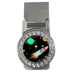 Planet Saturn Rocket Star Money Clips (cz)