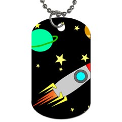Planet Saturn Rocket Star Dog Tag (two Sides)