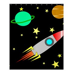 Planet Saturn Rocket Star Shower Curtain 60  X 72  (medium)  by AnjaniArt