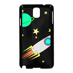 Planet Saturn Rocket Star Samsung Galaxy Note 3 Neo Hardshell Case (black) by AnjaniArt