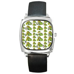 Parrot Bird Green Animals Square Metal Watch by AnjaniArt