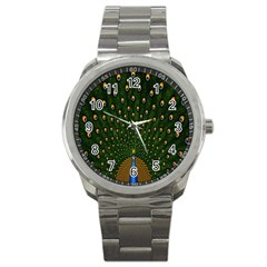 Peacock Feathers Green Sport Metal Watch by AnjaniArt