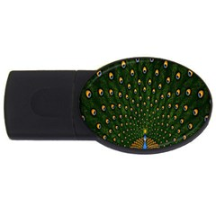 Peacock Feathers Green Usb Flash Drive Oval (4 Gb)