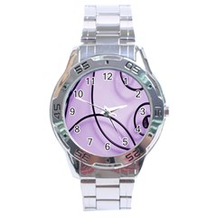 Purple Background With Ornate Metal Criss Crossing Lines Stainless Steel Analogue Watch