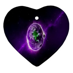 Purple Space Planet Earth Ornament (heart)