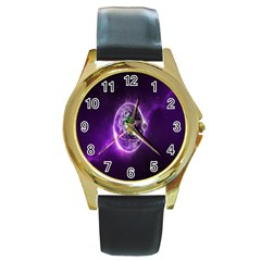 Purple Space Planet Earth Round Gold Metal Watch by AnjaniArt