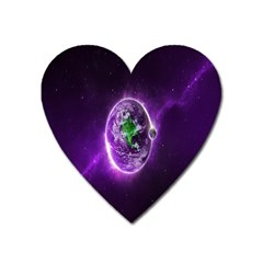 Purple Space Planet Earth Heart Magnet