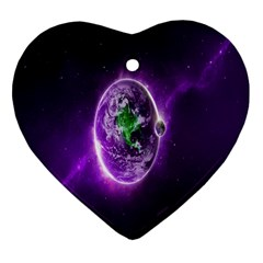 Purple Space Planet Earth Heart Ornament (two Sides) by AnjaniArt