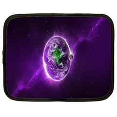 Purple Space Planet Earth Netbook Case (large) by AnjaniArt