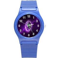 Purple Space Planet Earth Round Plastic Sport Watch (s)