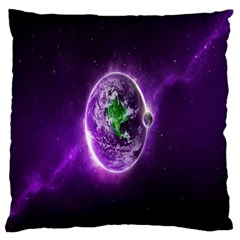 Purple Space Planet Earth Large Cushion Case (two Sides) by AnjaniArt
