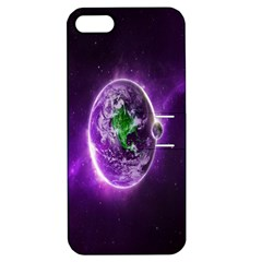 Purple Space Planet Earth Apple Iphone 5 Hardshell Case With Stand