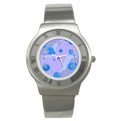 Purple Wave Stainless Steel Watch