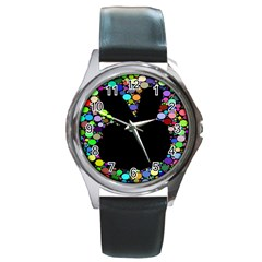 Prismatic Negative Space Comic Peace Hand Circles Round Metal Watch by AnjaniArt