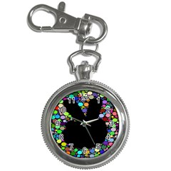 Prismatic Negative Space Comic Peace Hand Circles Key Chain Watches by AnjaniArt