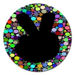 Prismatic Negative Space Comic Peace Hand Circles Magnet 5  (round) by AnjaniArt