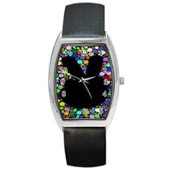 Prismatic Negative Space Comic Peace Hand Circles Barrel Style Metal Watch