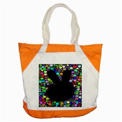Prismatic Negative Space Comic Peace Hand Circles Accent Tote Bag by AnjaniArt