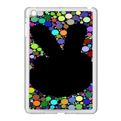 Prismatic Negative Space Comic Peace Hand Circles Apple Ipad Mini Case (white) by AnjaniArt