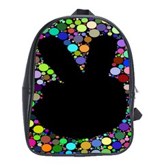 Prismatic Negative Space Comic Peace Hand Circles School Bags (xl)  by AnjaniArt