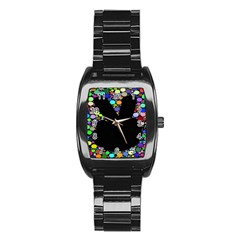 Prismatic Negative Space Comic Peace Hand Circles Stainless Steel Barrel Watch by AnjaniArt