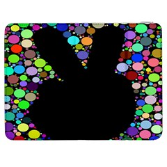 Prismatic Negative Space Comic Peace Hand Circles Samsung Galaxy Tab 7  P1000 Flip Case by AnjaniArt