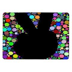 Prismatic Negative Space Comic Peace Hand Circles Samsung Galaxy Tab 10 1  P7500 Flip Case by AnjaniArt