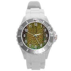 Peacock Bird Feather Color Round Plastic Sport Watch (l)