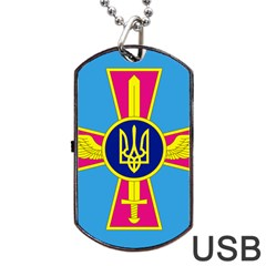 Ensign Of The Ukrainian Air Force Dog Tag Usb Flash (one Side) by abbeyz71