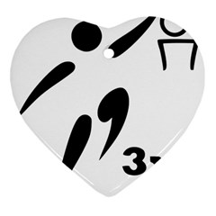 3 On 3 Basketball Pictogram Heart Ornament (two Sides) by abbeyz71